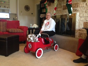 Grandma Jody keeps an eye on the getaway vehicle