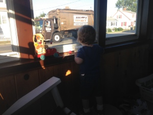 Vroom Vroom! My daily truck watching ritual from Grammy's porch